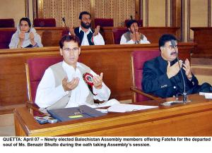 April 07  Newly elected Balochistan Assembly members, Jan Ali Changazi and Sardar Sanaullah Zehri, other behind, offering Fateha for the departed soul of Ms. Benazir Bhutto, Nawab Akbar Khan Bugti, Nawabzada Balaach Marri during the oath taking Assembly