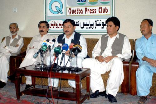 HDP leaders, Khaliq Hazara, Hussain Yousafi and Hazara Town Nazim Ahmed Kohzad addressing press confrence.
