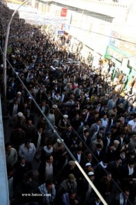 People in funeral procession of martyred leader, Yousufi.