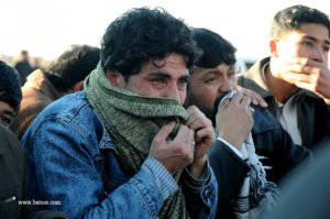 A young man mourning Yousufi's martyrdom by terrorists.