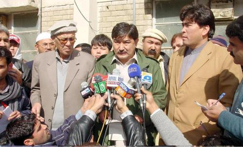 HDP Genereal Secretary Khaliq Hazara talking to media.