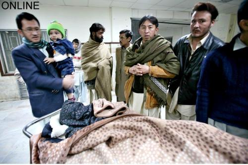 Jaan Begum and Shamsullah being treated in Hospital after the firing of terrorists.