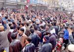 Angry protestors chanting slogans against Govt. on Yousafi's murder.