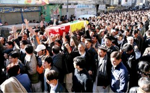 Martyred leader's funeral procession on Alamdar Road, Quetta.