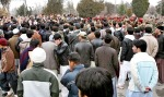 Protestors shout slogans during a demonstration outside Core Commander House in Cantt area against the killing of Hazara policemen.