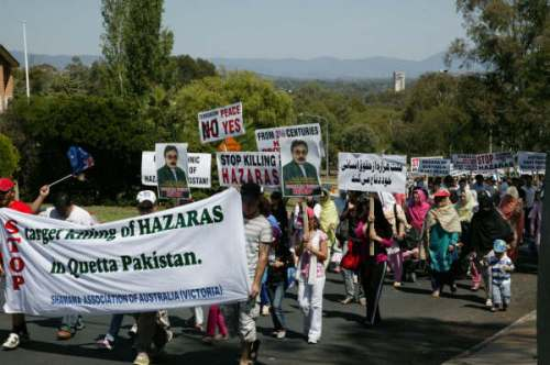 Australian Hazaras marching towards Pakistan Embassy holding banners and placards against target killing of Hazaras in Quetta Pakistan.