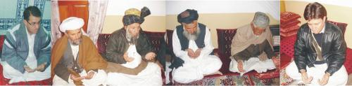 Provincial Minster, Maulvi Abdul Samad Akhondzada offering Fateha for departed soul of HDP Chiarman Yousufi.