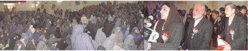Federal Minister, Farzana Raja addressing Hazara women at General Musa College.