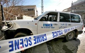 UNHCR marked vehicle of the abducted official rammed into wall.