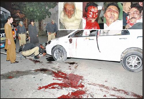 Talib Agha and others killed by unknown gunmen. (Jang Photo)