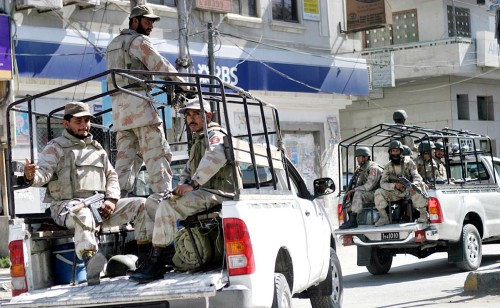 Security forces in Quetta on Advocate Wulayet's funeral day.